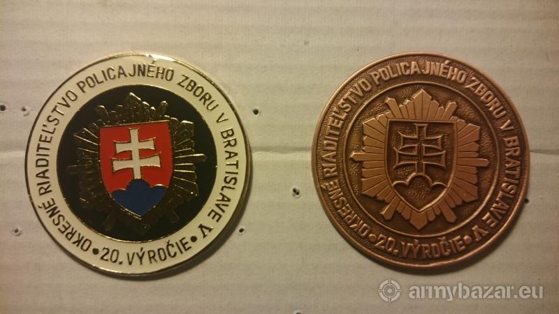 Policajné odznaky PZSR 20Výročie Polície