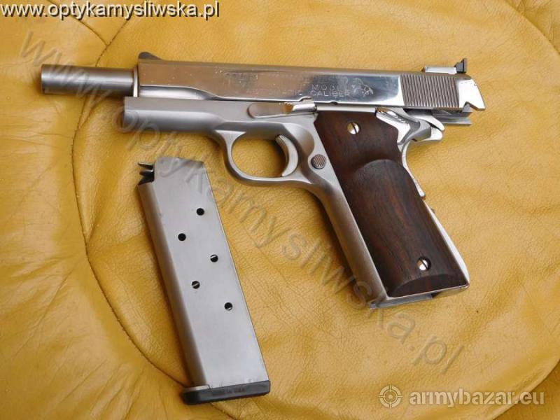 oryginalny pistolet Colt 1911 kal .45 w nierdzewce