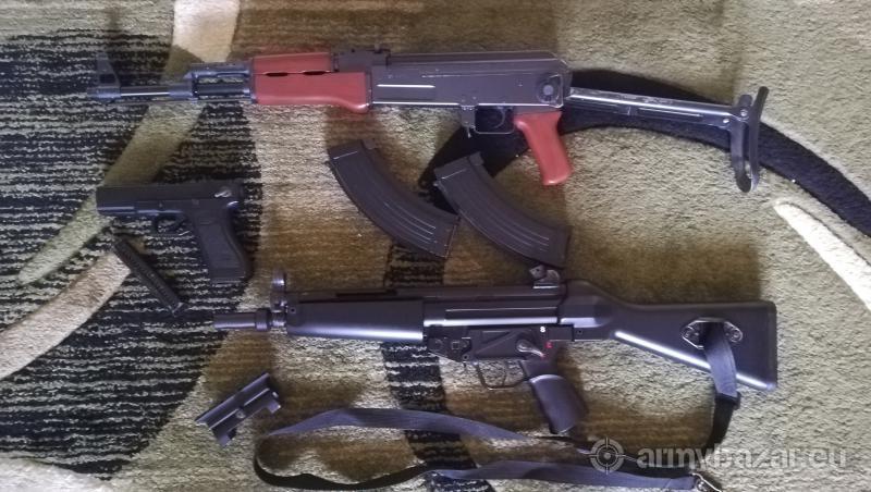 AK 47s Tokyo Marui/Glock 18C/MP5 + Príslušenstvo