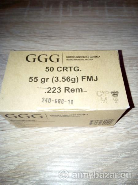 Náboje GGG 223 Rem. 55 gr. FMJ